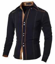 Men's Slim Fit Long Sleeve Button Front Casual Luxury Solid Dress Shirts Tops jg
