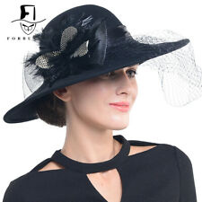 womens 100% Wool Cloche Church Dress Hat wide brim feather Winter Hat@029M