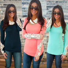 Fashion Womens Long Sleeve Lace Round Collar Summer Casual Shirt Tops Blouse