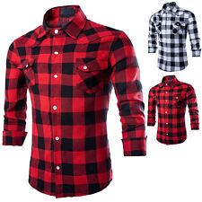 Mens Stylish Slim Long Fit Sleeve Plaid Shirt Two Pockets Dress Casual Shirt New
