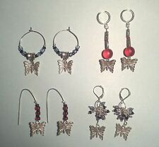 Handmade Earrings Silver Butterfly Collection, Silver & Colorful Beads hoop drop