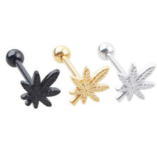 Chic Leaf Barbell Tongue Ring Stainless Steel Stud Body Piercing Jewelry Healthy