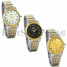 Fashion Mens Gold Silver Stainless Steel Classic Dial Quartz Analog Wrist Watch