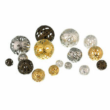 12/14/16MM 50Pcs Gold Silver Plated Filigree Hollow Metal Spacer Beads For DIY