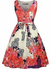 Sally-Mae Vintage 1950's Floral Spring Picnic Dress/Party Cocktail Dress