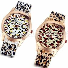 Fashion Geneva Leopard Silicone Jelly Gel Women Casual Quartz Analog Wrist Watch