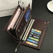 Men Long Leather Bifold Wallet ID Credit Card Holder Checkbook Zip Clutch Purse