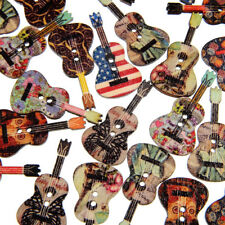 50PCS MIXED WOOD BUTTONS 2 HOLES FLOWER GUITAR SHAPE SEWING SCRAPBOOKING ORNATE