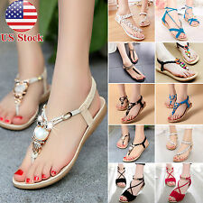 Womens Gladiator Sandals Bohemia Thong Toe Flip Flops Flats Summer Beach Shoes