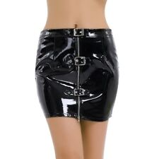 SEXY WOMEN BLACK BODYCON PENCIL MINI SKIRT ZIPPER FAUX LEATHER PVC CLUBWEAR