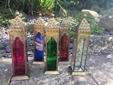 TALL MOROCCAN STYLE LANTERNS TEA T LIGHTS CANDLE HOLDERS COLOURED GLASS WEDDING