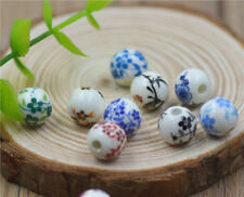 Lot 10mm Blue And White Porcelain Ceramic Round Loose Beads Jewelry Making DIY