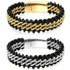 "8.7"" Mens Wide Genuine Braided Leather Stainless Steel Curb Chain Bracelet Cuff"