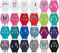 AEROPOSTALE WOMENS LONG SLEEVE HENLEY T-SHIRT EMBROIDERED BUTTONS TOP TEE AERO