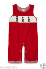 """NEW Aurora Royal Baby Boys """" London Guards"""" Red Corduroy Embroidered Dungarees"""