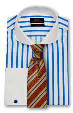 Dress Shirt by Steven Land Spread Collar  French Cuff -Blue/White-TW1738-BL