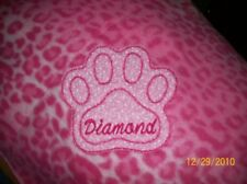 PET DOG CAT FLEECE BLANKET PERSONALIZED Handcrafted 6 foot x- large pink leopard