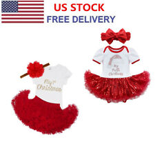 Newborn Infant Baby Girls Outfits Clothes Christmas Romper Jumpsuit Tutu Dress