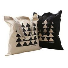 Unisex Triangle Print Canvas Tote Bag Shoulderbag