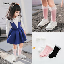 Girls Princess Pretty Lace Stocking Baby Infant Solid Color Cotton Knee Socks