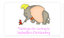 PERSONALISED STICKERS LABELS ADDRESS PARTY BAGS DISNEY DUMBO CHRISTENING