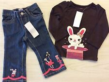 Gymboree Star Of The Show 12-18 18-24 2T Bunny Rabbit Circus Jeans Top Outfit