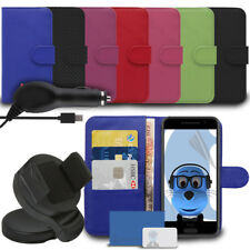 Wallet Case Screen Protector Car Holder & Charger for Huawei Ascend P8