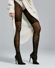 3D Patterned Tights Fiore 40 Denier Trendy Semi Opaque Tights Couture New