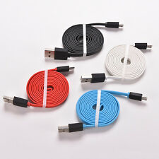 3/6/10Ft Flat Noodle Micro USB Charger Sync Data Cable Cord fr Android Phone HU