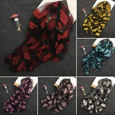 Fashion Leaves Embroidery Scarves Women Shawl Wrap Long Soft Scarf Evening Prom