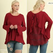 Umgee Burgundy Lace Back And Ruffle Detail Bell Sleeve Top Plus Size