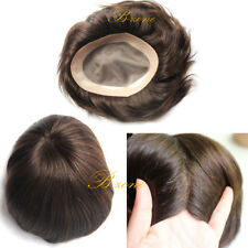 Human Hair Toupee for Men Mono Based Breathable Human Hair Systems Brown Color