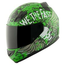 """Speed And Strength """"We, the Fast"""" Flying Skull SS1200 Motorcycle Helmet Green"""
