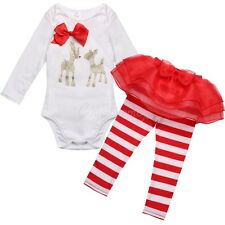 2Pcs Baby Girls Kids Christmas Deer Shirt + Tutu Dress Stripe Leggings Outfits