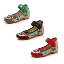 1 Pair Old Beijing Cloth Shoes Flax Embroider Flats Buckle Canvas