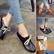 Womens Casual Flats Leather shoes Fashion Slip On Shoes Loafer Black/White/Brown