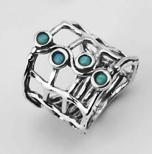 New SHABLOOL Ring 925 Sterling Silver Blue Fire Opal Statement Jewelry