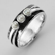 New SHABLOOL Ring 925 Sterling Silver Freshwater White Pearl Jewelry