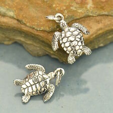 925 Sterling Silver Sea Turtle Animal Charm Pendant Necklace Ocean Beach 1121