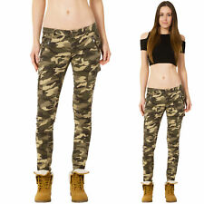 New Womens Low Rise Slim Skinny Green Camouflage Combat Trousers Cargo Pants