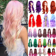 Women Girls Full Wig Long Curly Wave Straight Hair Costume Cosplay Wigs Hf001
