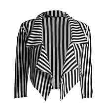 WOMENS LADIES BLACK AND WHITE STRIPED CROPPED WATERFALL BLAZER JACKET SIZE 8-22