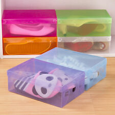 Clear Plastic Colorful Storage Boxes Shoe Container Organizer Holder Case Fad^