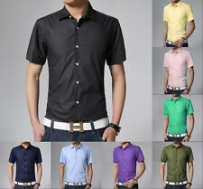 Fashion Mens Stylish Slim Fit Casual T-Shirt Short Sleeve Dress Shirts Hot Sale