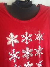 Ladies RED Cotton Blend Christmas Holiday Shirt Snowflake Cacique Lane Bryant