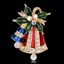 AL_ Multicolor Christmas Jingle Bells Rhinestone Brooch Pin Women Jewelry Precio