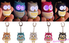 1X Novelty 3D Cartoon Owl LED Light Keyring Sound Hooting Key Chain Pendant Gift