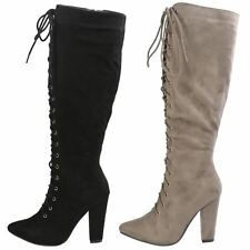 Peyton Womens High Heel Lace Up Pointed Toe Mid Calf Boots Ladies Shoes Size New