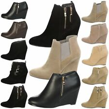 Sophie Womens Mid High Wedges Heels Ankle Boots Ladies Shoes Booties Smart Size