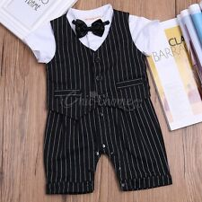 Baby Boys Formal Suit Tuxedo Gentleman Rompers Birthday Vest Outfits Clothes Set